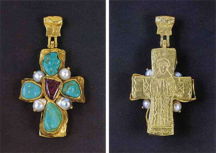 Figure 19 - Front and back views of 1960s Robert Goossens for Chanel Pendant.  From <q>Jewelry by Chanel</q> by Mauries.