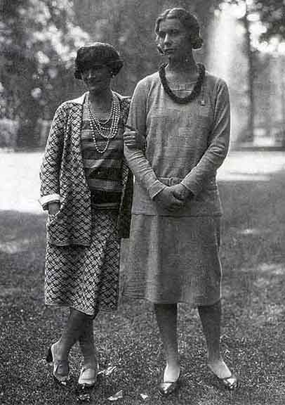 Figure 8 - Chanel (on left) with Lady Abdy in 1929.  From <q>Chanel: A Woman of Her Own</q> by Madsen.