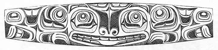 This flattened Haida bracelet, shows the classic formline, ovoids, eyebrows, and U forms.  From